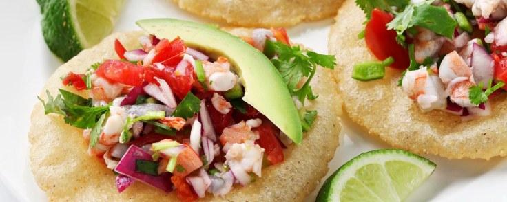 tostadas de ceviche, mexican food